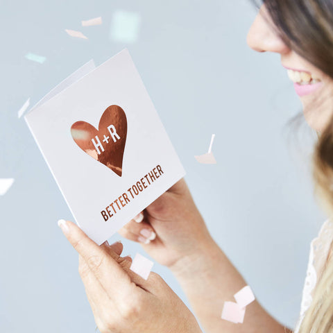 Metallic Personalised Heart Card