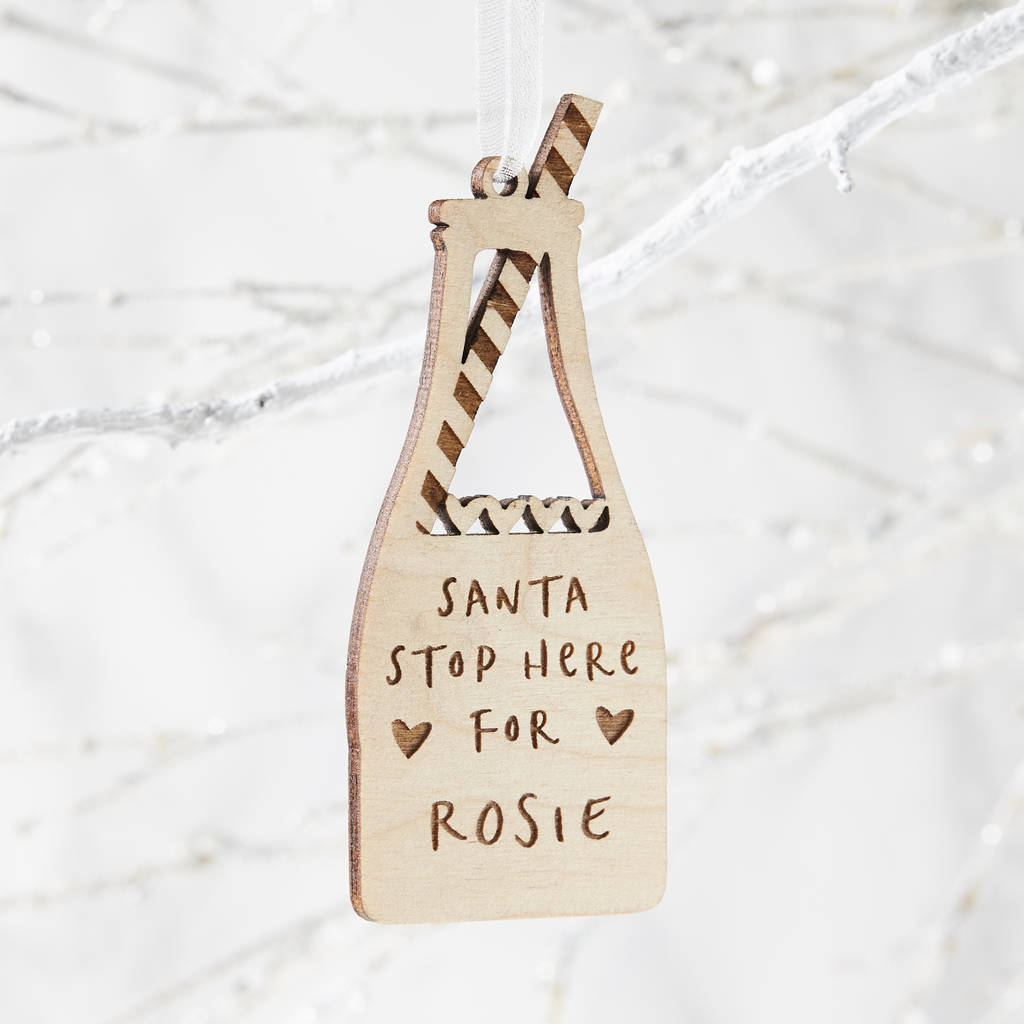 Personalised Milk Bottle Christmas Decoration