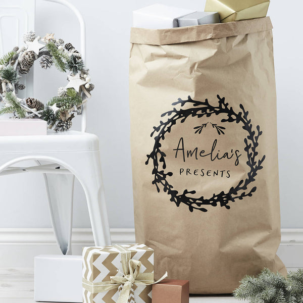 Mistletoe Wreath Personalised Christmas Sack