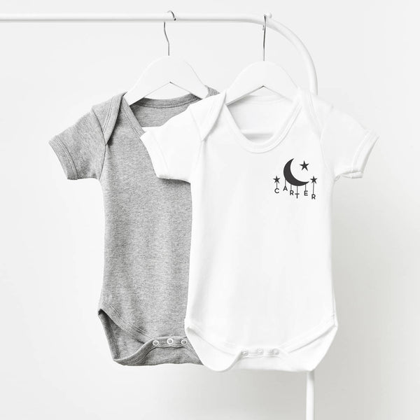 6252793ca Little Moon Short Sleeve Personalised Babygrow