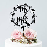 Mr And Mrs Floral Wreath Wedding Cake Topper