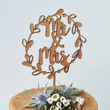 Mr And Mrs Floral Wreath Wooden Wedding Cake Topper