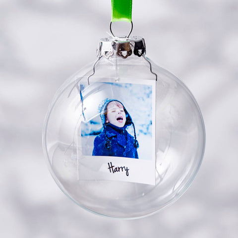Neon Photo Glass Personalised Christmas Bauble