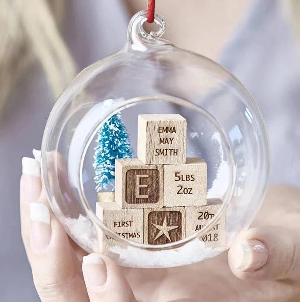 Personalised Baby Building Blocks Christmas Bauble