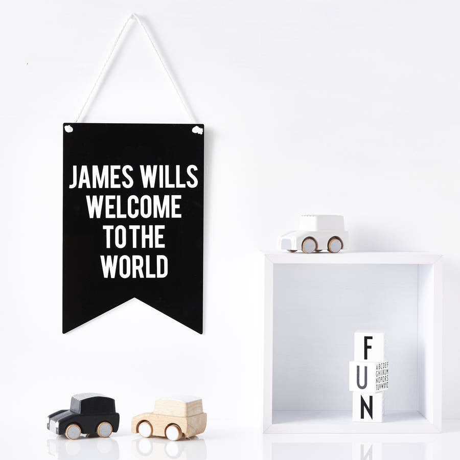 New Baby Personalised Nursery Wall Art
