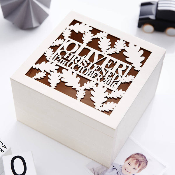 Oak Leaf Personalised Christening Keepsake Box