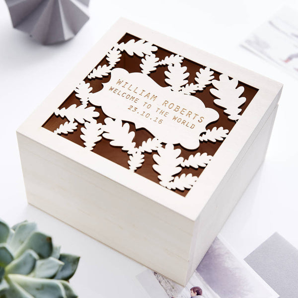 Oak Leaf Personalised Keepsake Box