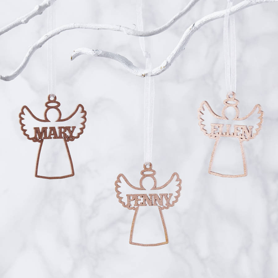 Personalised Angel Metallic Christmas Decoration