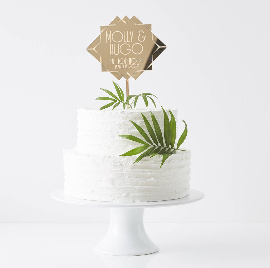 Personalised Art Deco Wedding Cake Topper