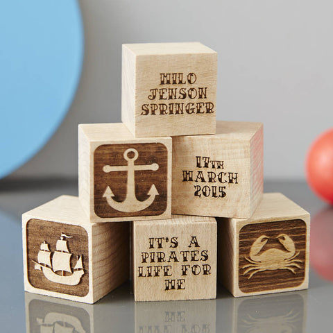 Personalised Baby Keepsake Nautical Building Block
