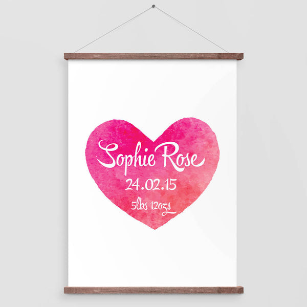 Personalised Baby Watercolour Heart Print
