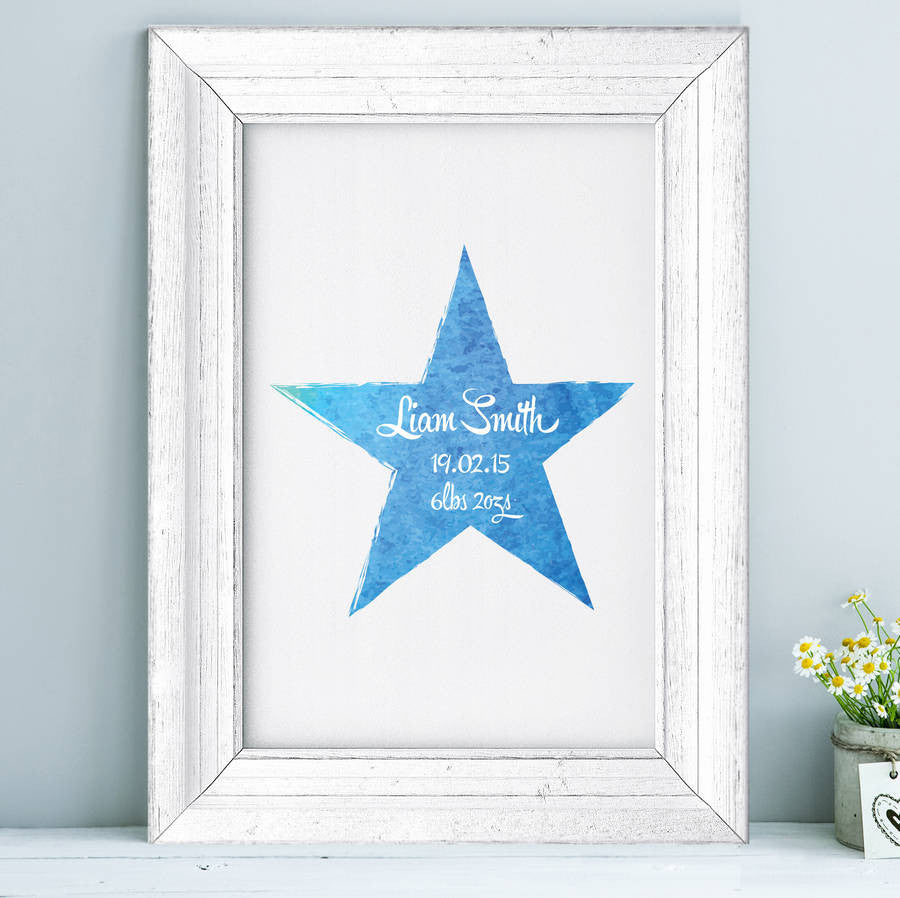 Personalised Baby Watercolour Star Print
