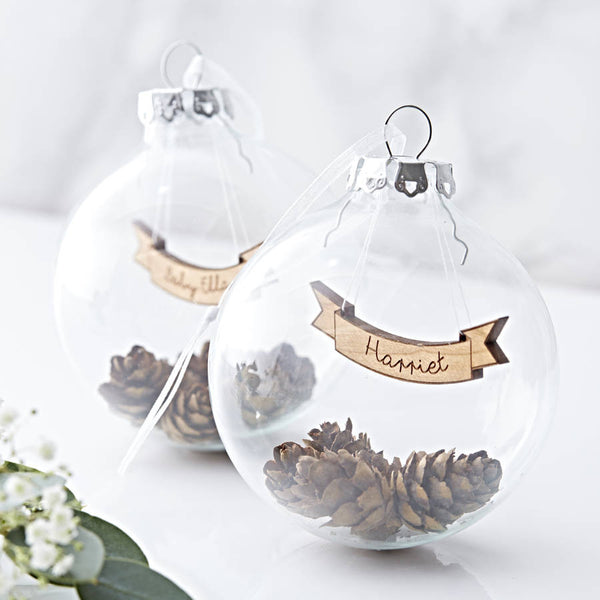 Personalised Banner Pine Cone Bauble