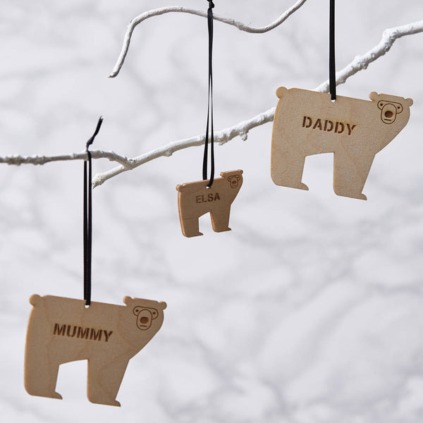Personalised Bear Wooden Christmas Decoration