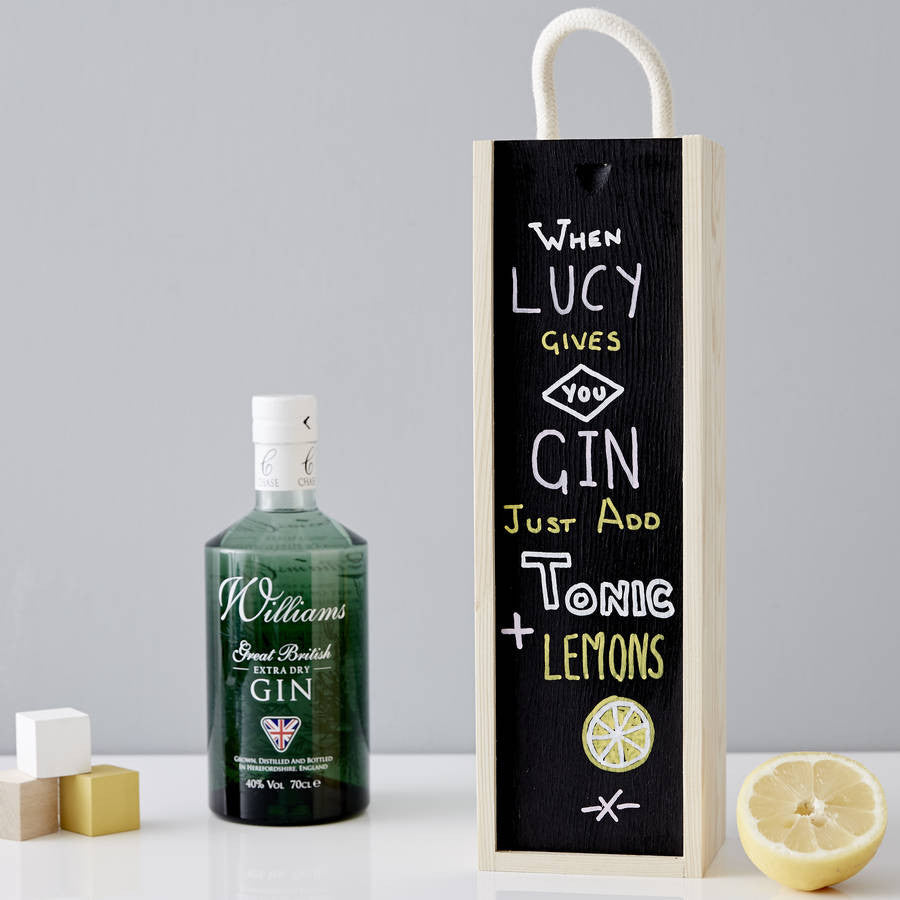 Personalised Blackboard Bottle Box For Her