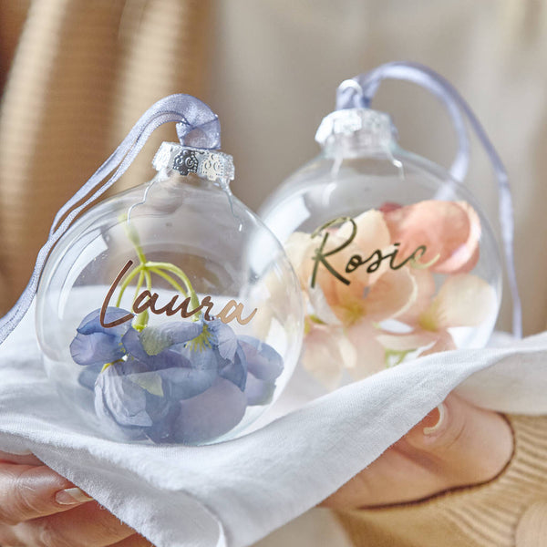 Personalised Blossom Glass Bauble