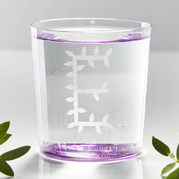 Personalised Botanical Initial Glass