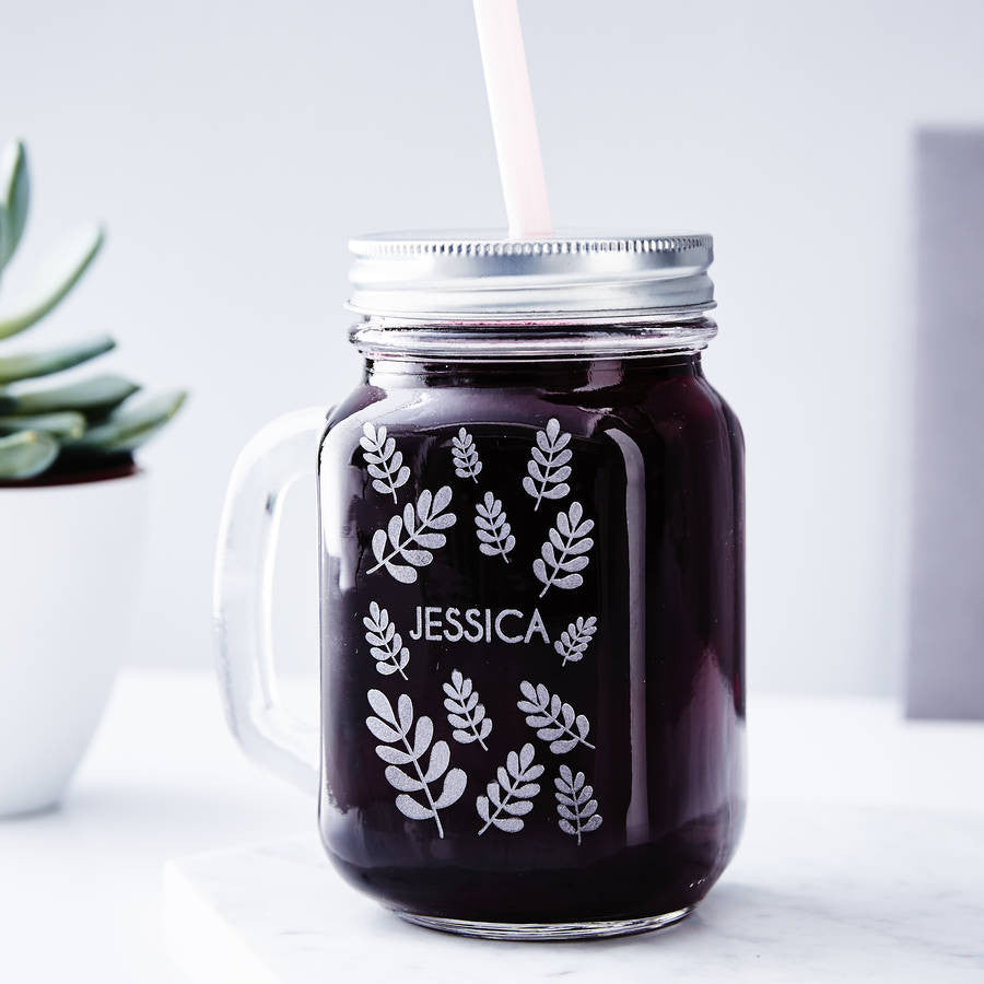 Personalised Botanical Mason jar