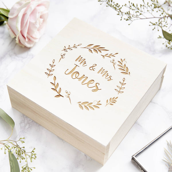 Personalised Botanical Wreath Keepsake Box