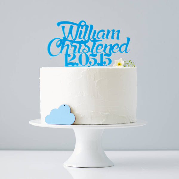 Personalised Boys Christening Cake Topper