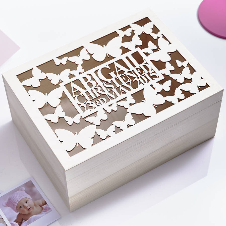 Large Personalised Butterfly Baby Keepsake Box