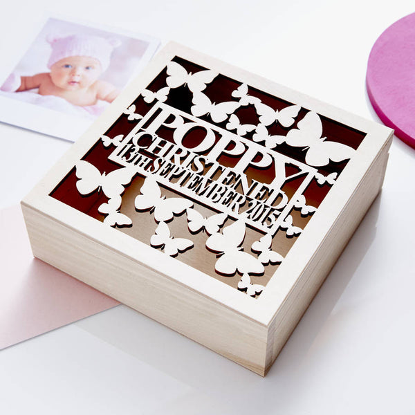Personalised Butterfly Christening Keepsake Box