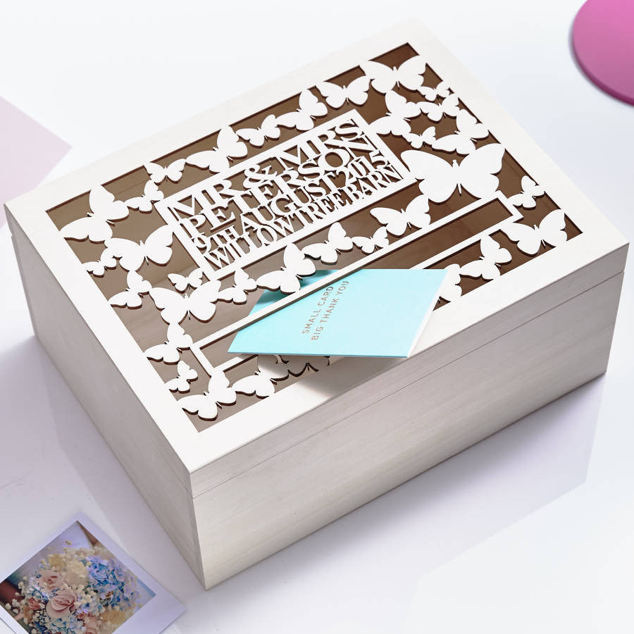 Personalised Butterfly Wedding Post Box
