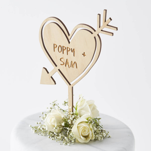 Personalised Carved Heart Cake Topper