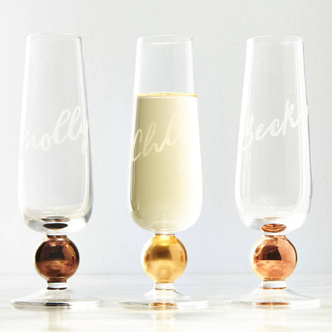 Metallic Personalised Champagne Flute