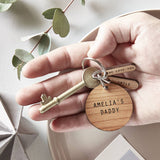 Personalised Wooden Charm Keyring
