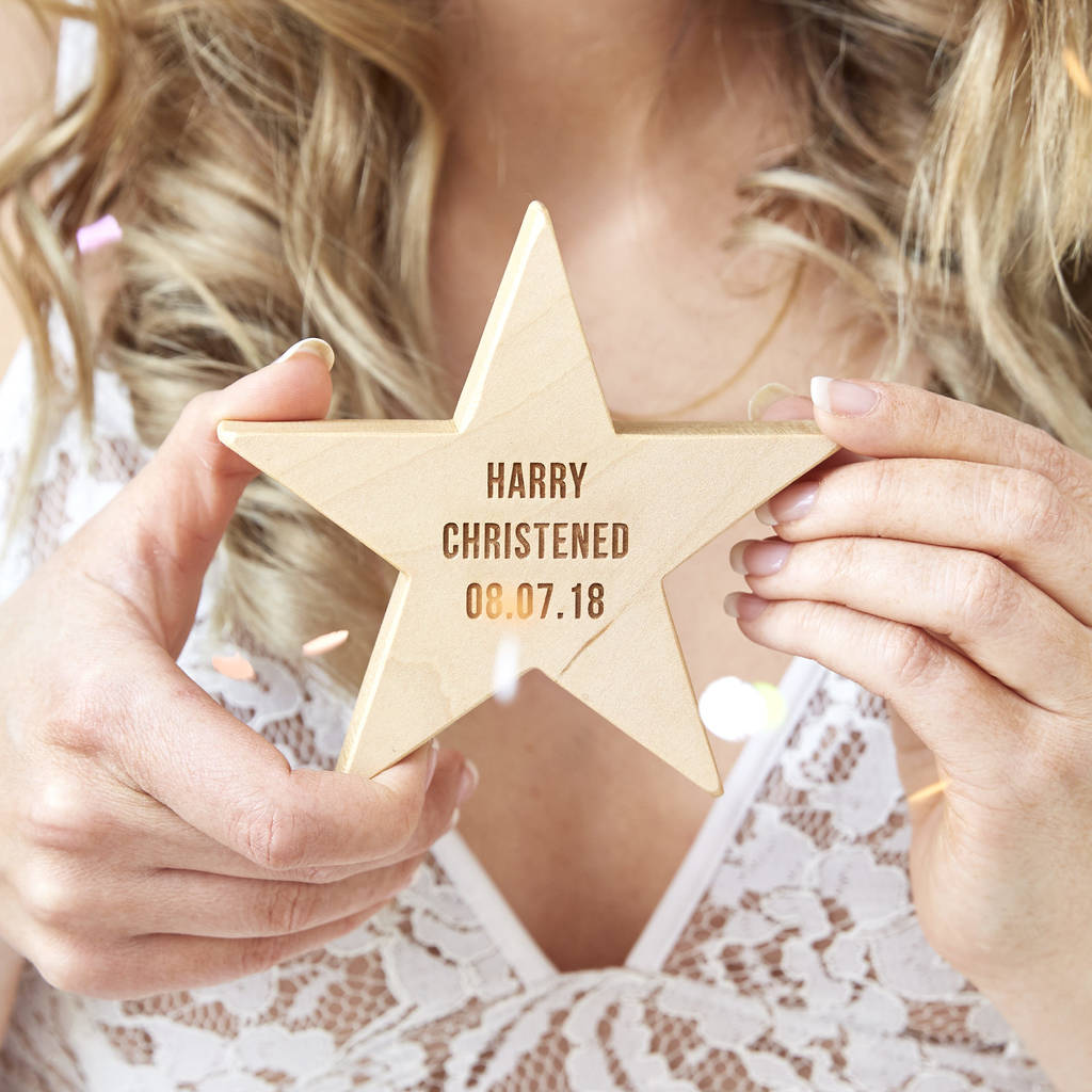 Personalised Christening Wooden Star Keepsake