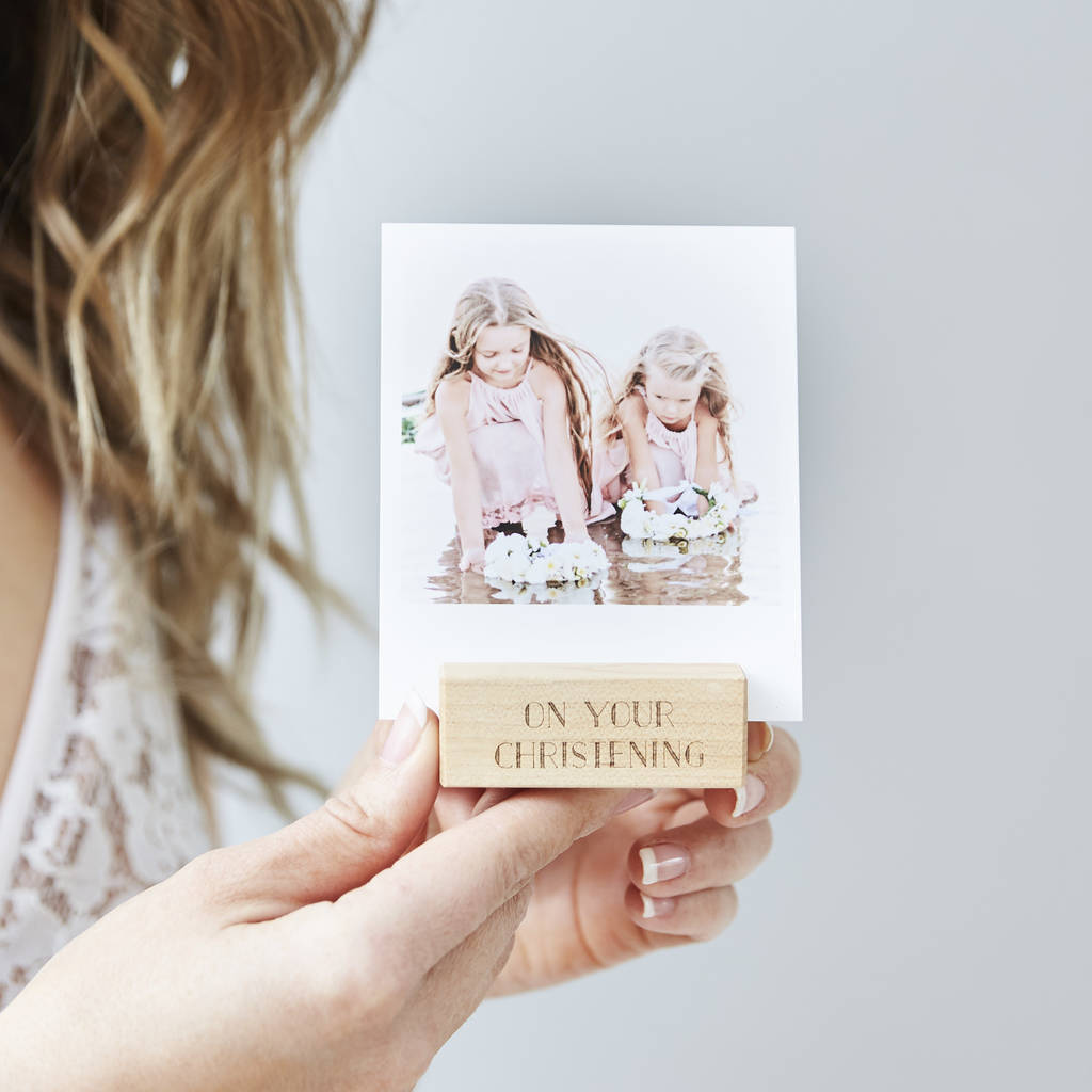 Personalised Christening Photo Block