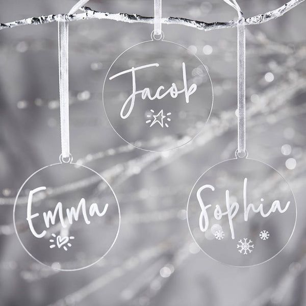 Personalised Clear Christmas Decoration