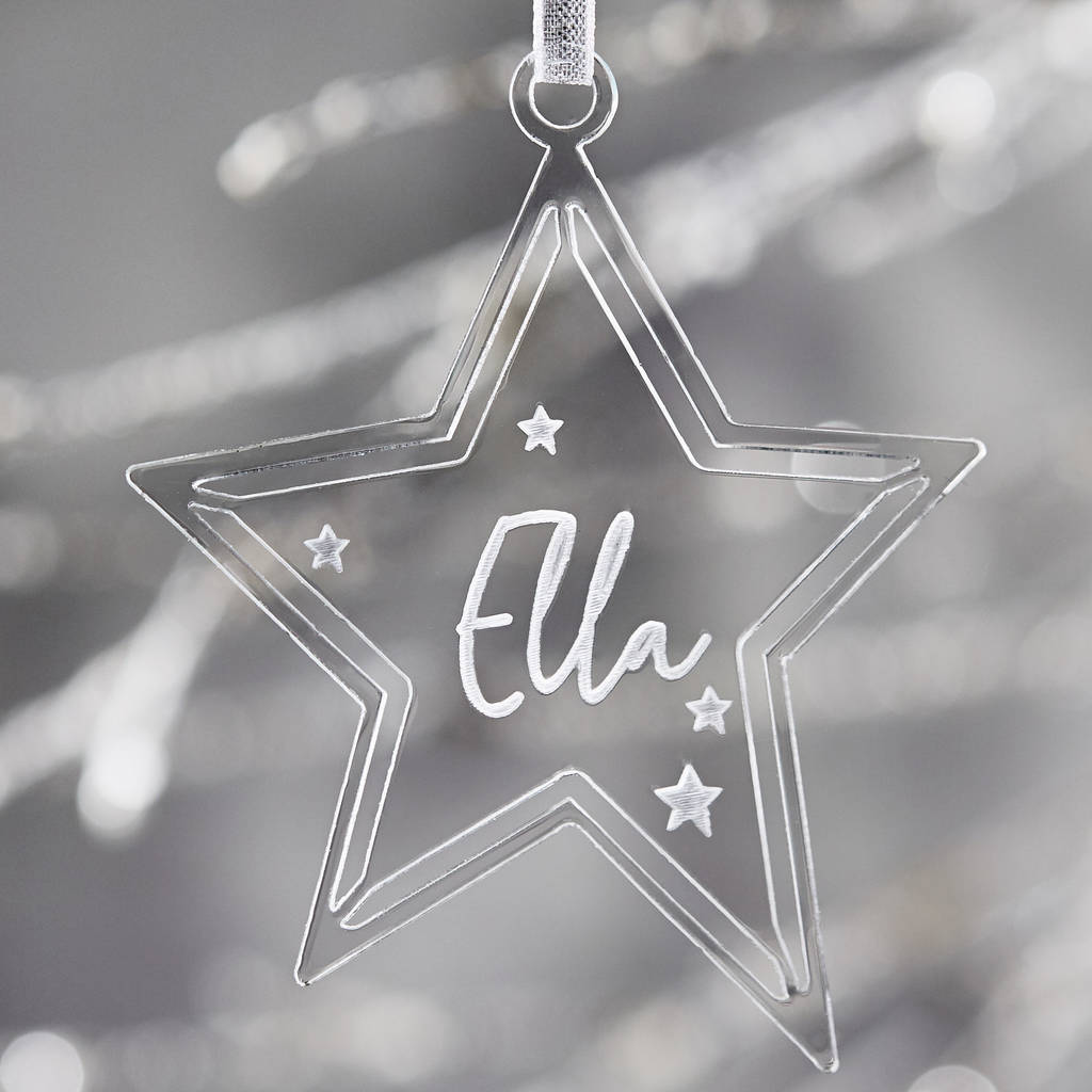 Personalised Clear Star Christmas Decoration