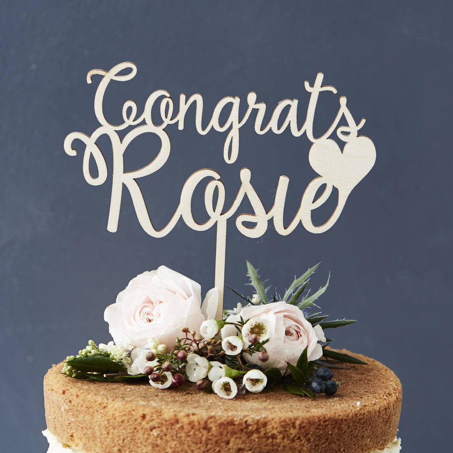 Personalised Congratulations Wooden Cake Topper