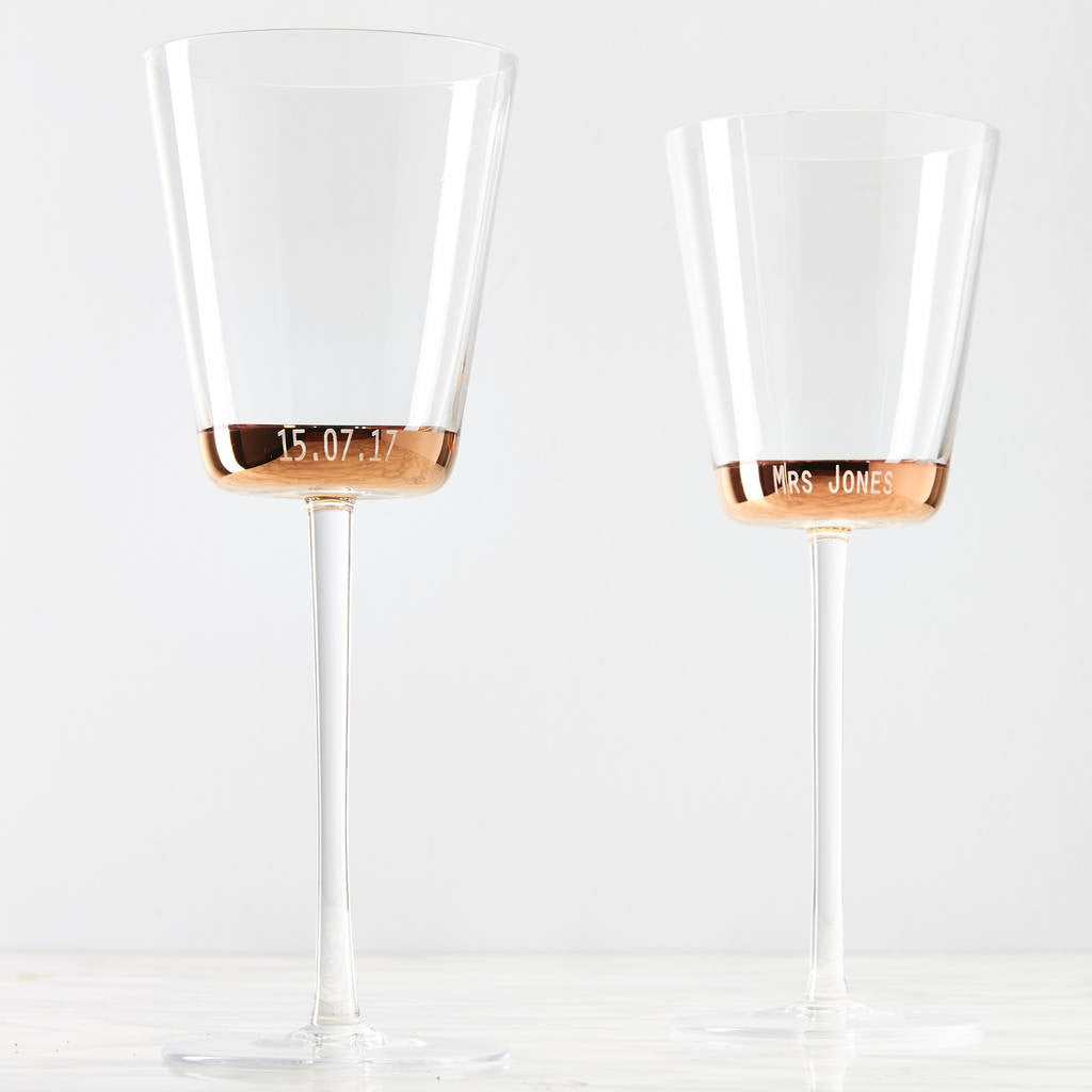 Personalised Copper Wine Glass Set