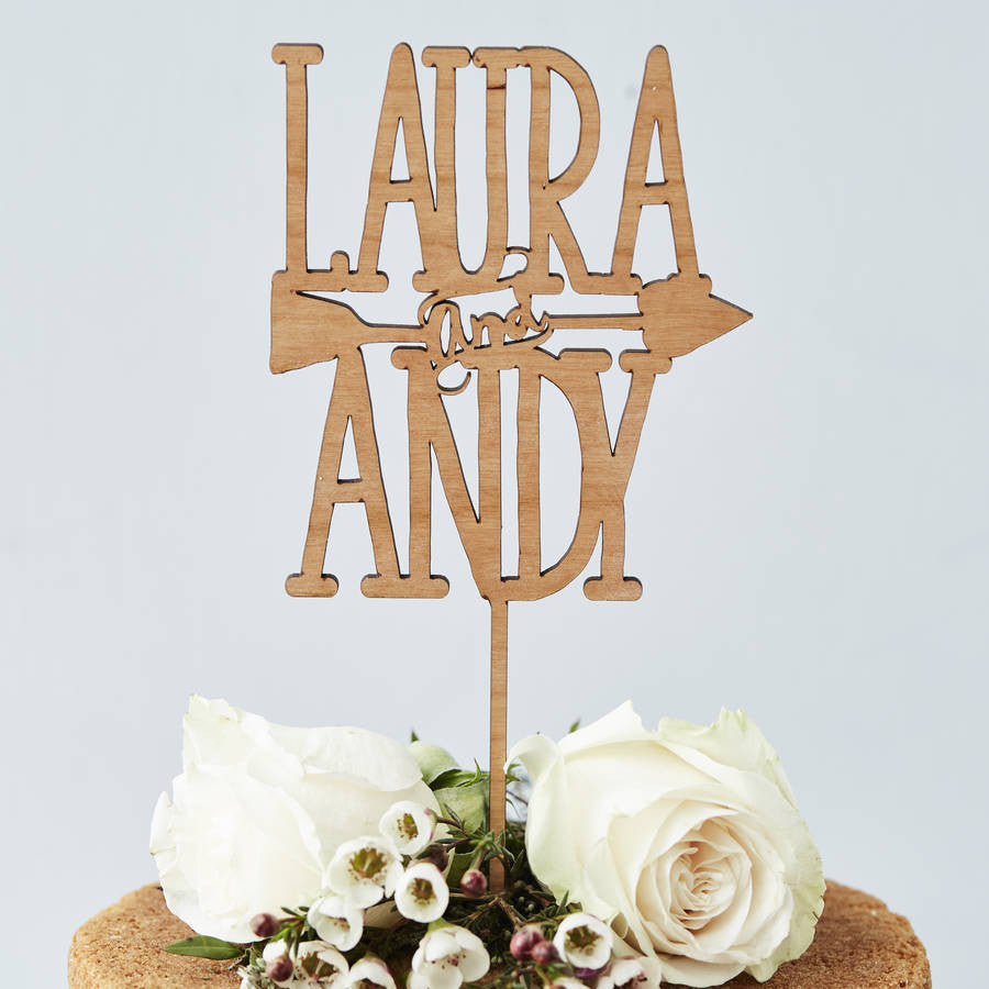 Personalised Couples Arrow Wooden Cake Topper