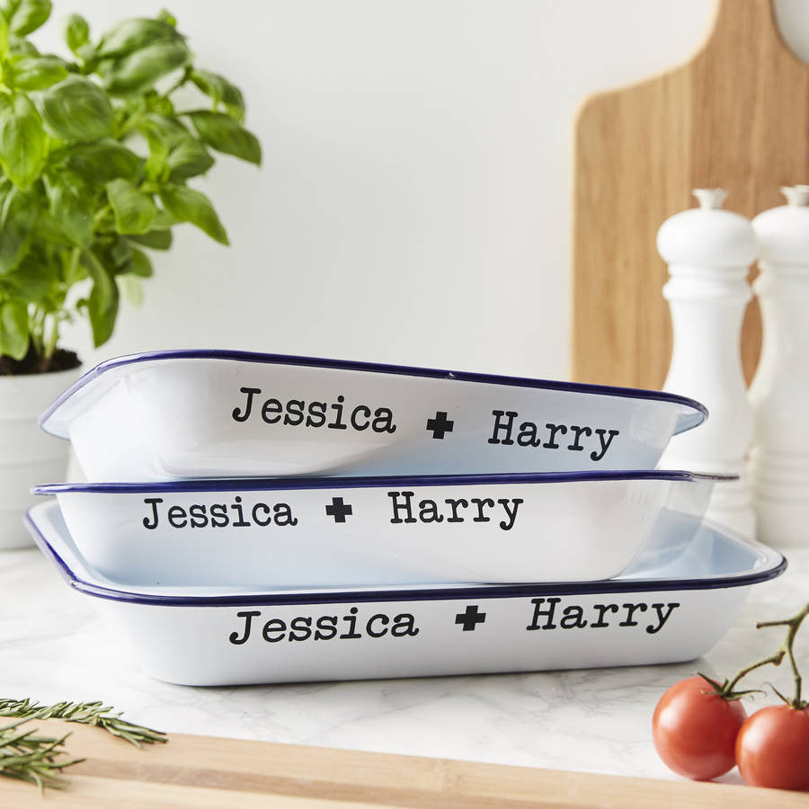 Personalised Couples Enamel Baking Tray