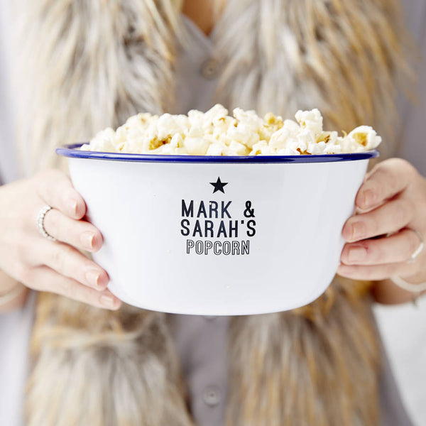 Personalised Couples Enamel Popcorn Bowl