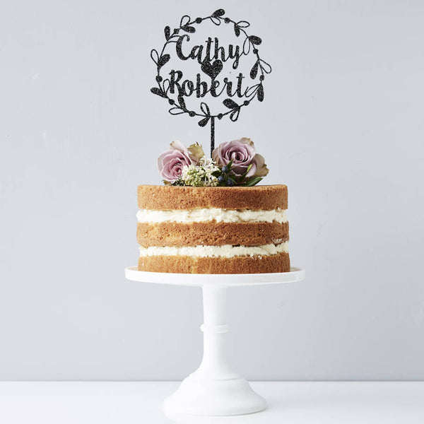 Personalised Couples Floral Wedding Cake Topper