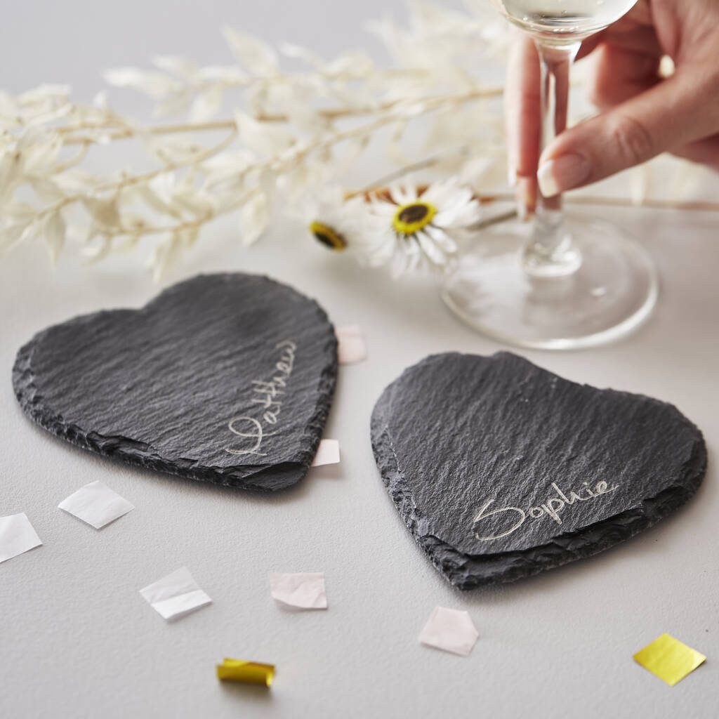 Personalised Couples Heart Slate Coaster Set