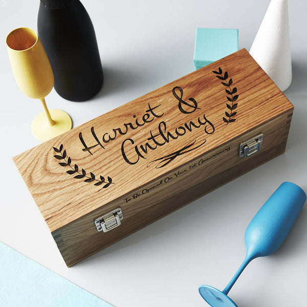 Personalised Couple's Oak Bottle Box