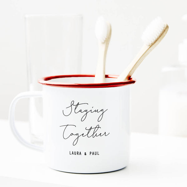 Personalised Couples Toothbrush Enamel Mug