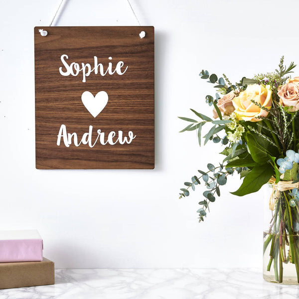 Personalised Couples Wooden Wall Art