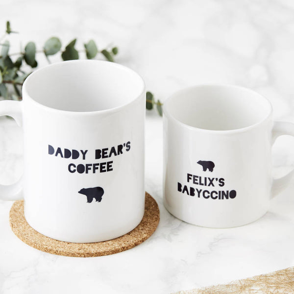 Personalised Daddy Bear And Baby Bear Mugs