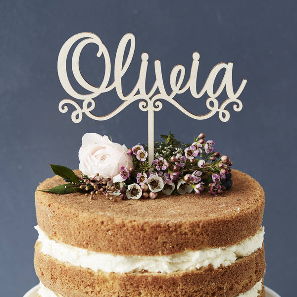 Personalised Decorative Name Wooden Cake Topper