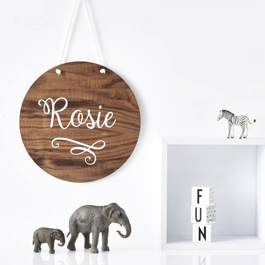 Personalised Delicate Swirl Nursery Wooden Wall Art