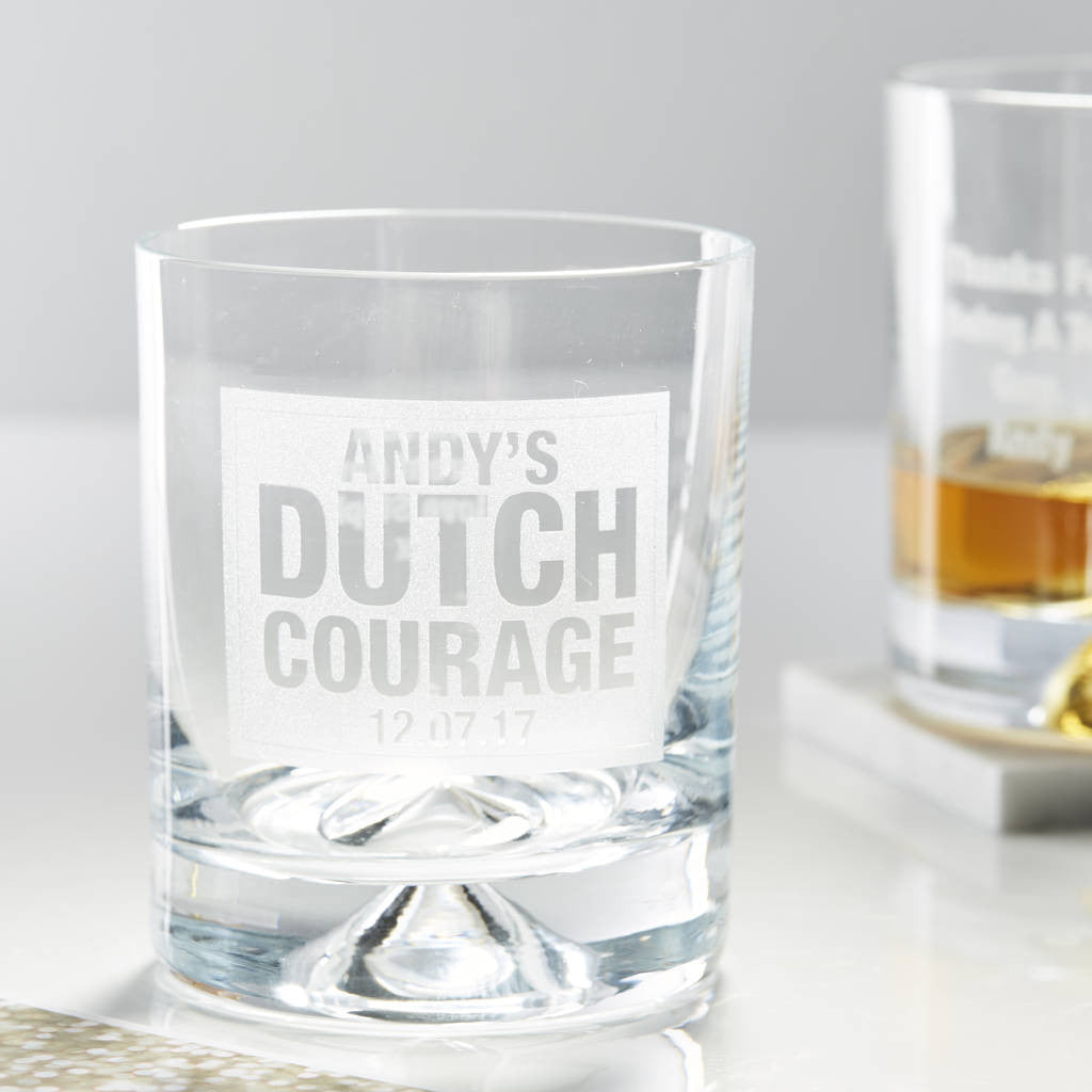 Personalised Dutch Courage Whiskey Glass