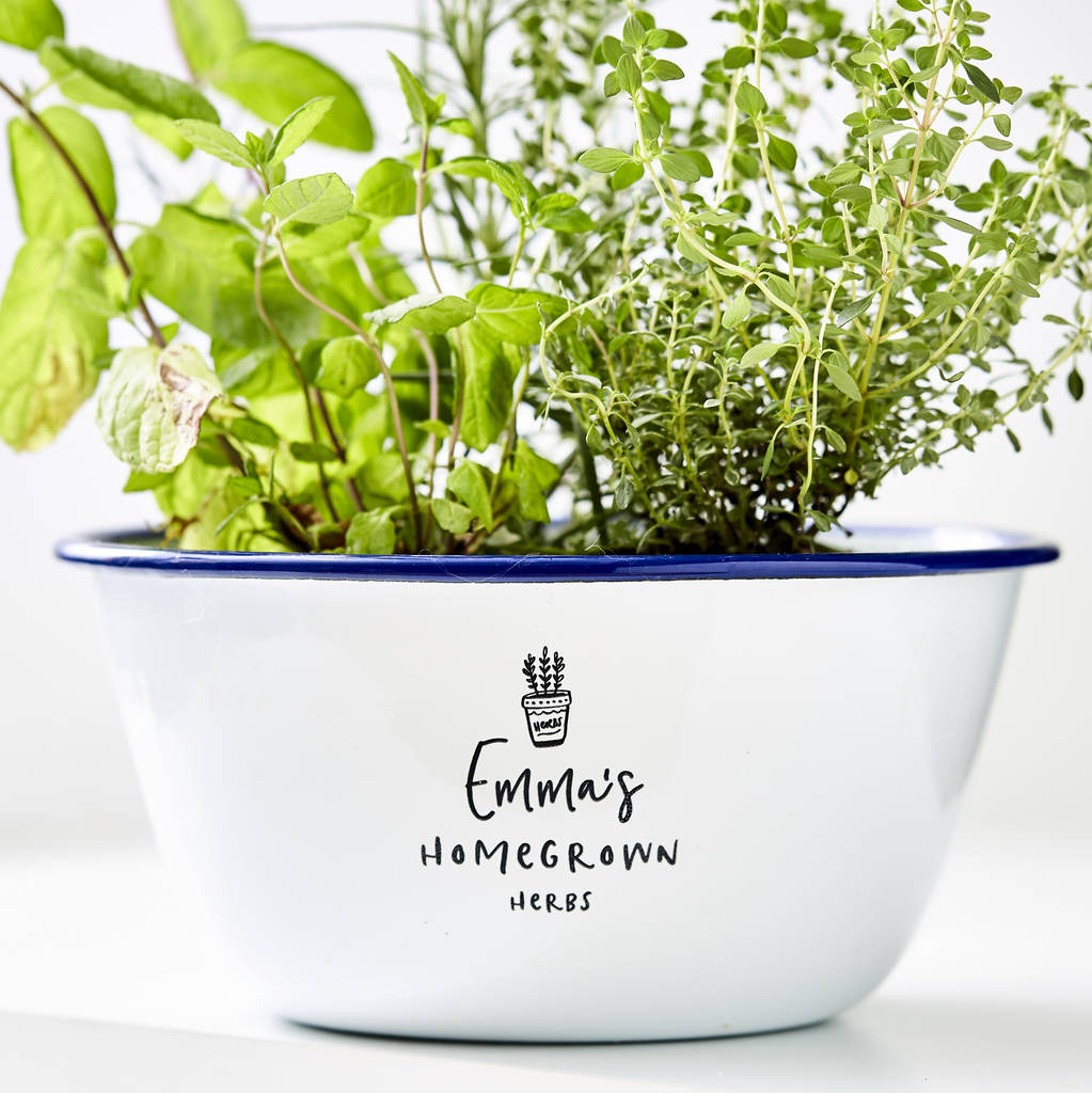 Personalised Enamel Herb Planter