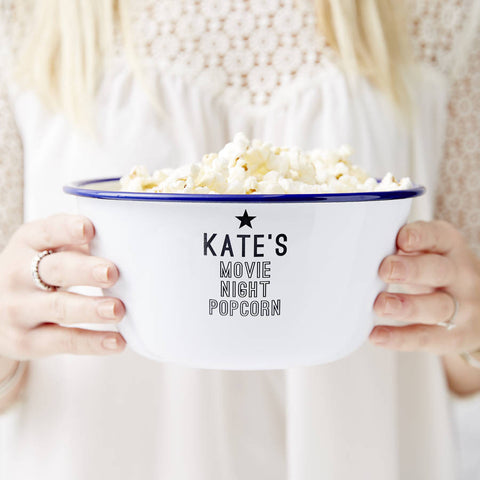 Personalised Enamel Popcorn Bowl